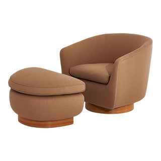 Interior Crafts Barrel Swivel Chair With Ottoman Walnut Base, 1970 For Sale