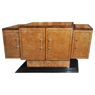 20th Century English Bird's-Eye Maple and Rosewood Sideboard or Bar For Sale