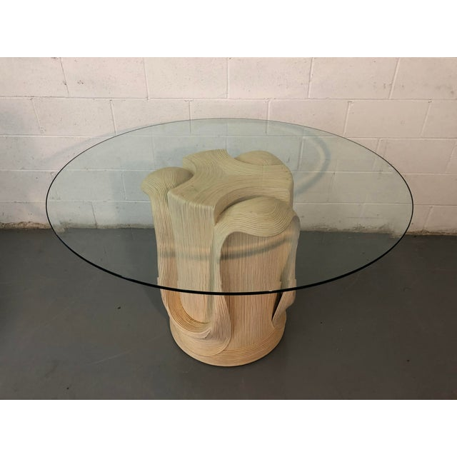 White 1980s Hollywood Regency Betty Coponpue Reed Rattan Sculpted Table For Sale - Image 8 of 8