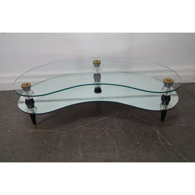 Semon Bache Hollywood Regency Kidney Shaped Mirrored Coffee Table - Image 2 of 10
