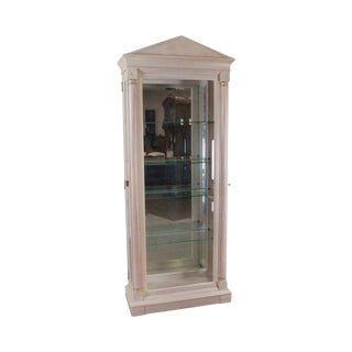 Ethan Allen French Empire Style White Wash Painted Curio Vitrine Cabinet For Sale