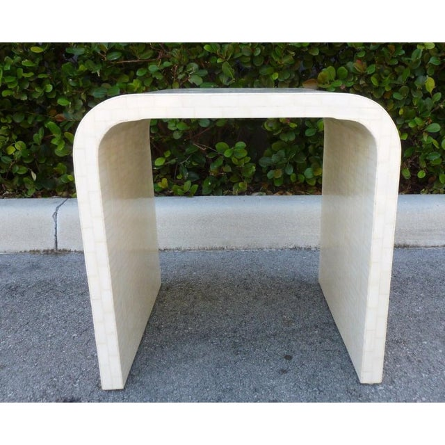 Bone 1970's Hollywood Regency Tessellated Bone Side Table For Sale - Image 7 of 9