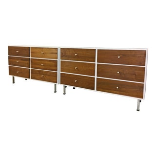 Pair of Walnut Bureaus With White Laminate Tops For Sale