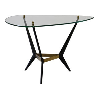 Mid-Century Modern Glass & Black Metal End Table For Sale