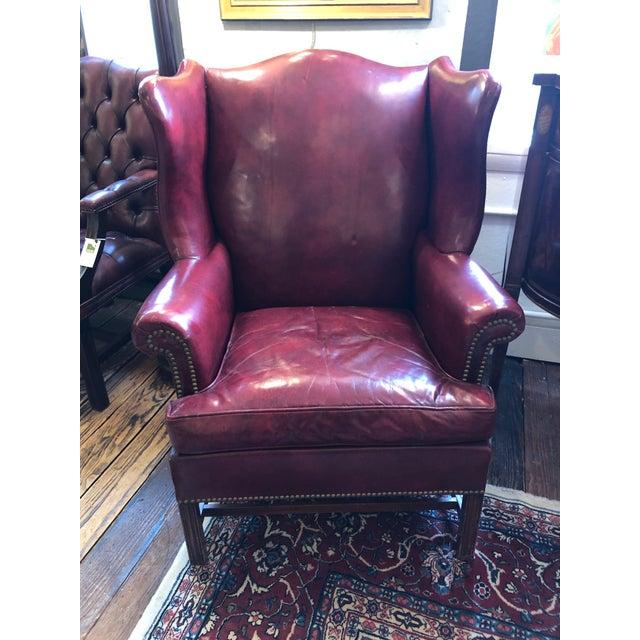 1950s Vintage Maroon Leather Wingback Chair For Sale - Image 13 of 13