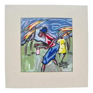 1980s African Expressionist Painting For Sale
