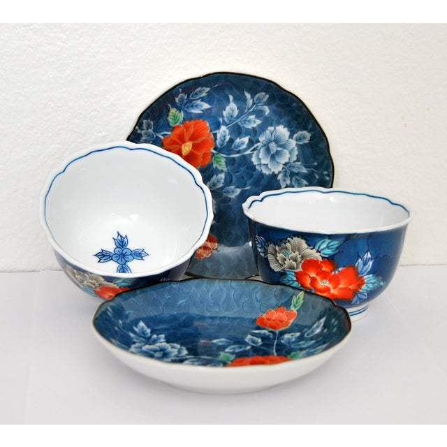 Ceramic Iro-Nabeshima Imaemon Porcelain Teacups and Saucers Chawan Tea Bowls Overglaze Enamel Multicolor Flowers For Sale - Image 7 of 7