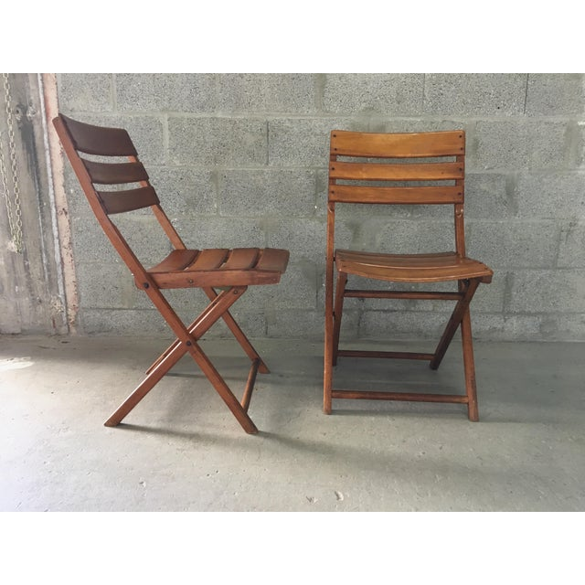 Vintage Rustic Slat Wood Folding Chairs - A Pair - Image 3 of 9