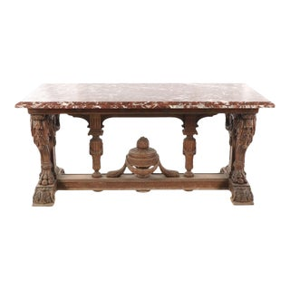 17th Century Renaissance Revival French Oak Trestle Console Table W/Breche Rouge Marble Top For Sale