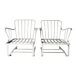 Mid Century Wrought Iron Outdoor Flex Chairs - a Pair