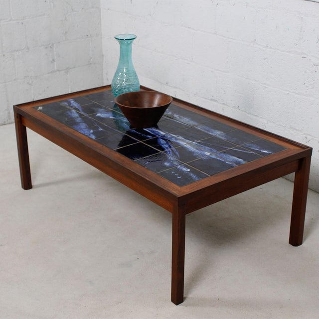 Large Danish Modern Coffee Table in Rosewood with White & Blue Tile Top For Sale - Image 5 of 6
