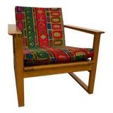 Image of Vintage Fredericia, Jack Lenor Larsen Fabric Børge Mogensen Oak and Cane Sled Lounge Chair For Sale