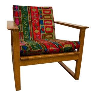 Vintage Fredericia, Jack Lenor Larsen Fabric Børge Mogensen Oak and Cane Sled Lounge Chair For Sale