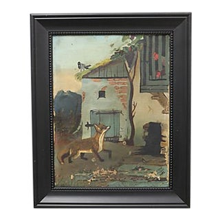 Antique French Fox & Henhouse Painting For Sale