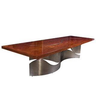 "Contemporary 2.25"" Thick Bubinga Slab Table For Sale"