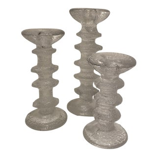 Festivo Crystal Candlesticks - Set of 3 For Sale