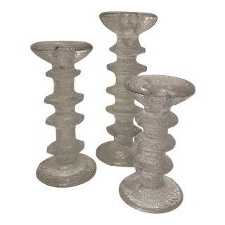Festivo Crystal Candlesticks - Set of 3 For Sale