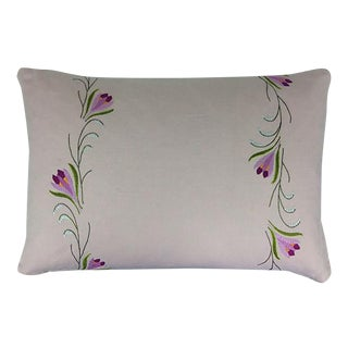 English Embroidered Linen Pillow For Sale