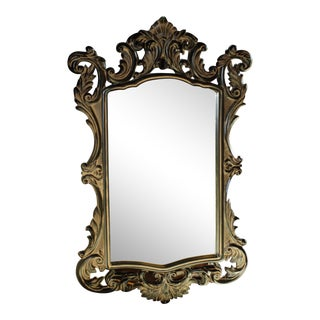 French Baroque Black Wall Mirror For Sale