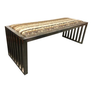 Museum Brushed Chrome Modern Bench For Sale