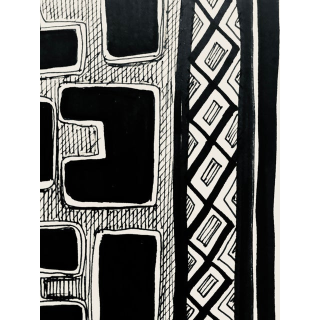 "African Original "" Congo"" Pen & Ink Drawing For Sale - Image 3 of 7"