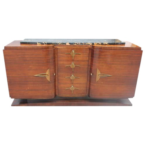 Classic French Art Deco Palisander Sideboard / Buffet Marble Top Circa 1940s - Image 1 of 10