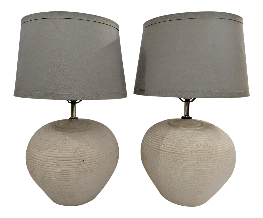 Vintage 1977 White Pottery Table Lamps   A Pair