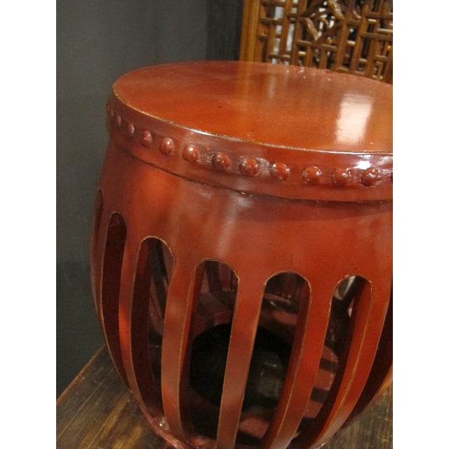 Asian 1900s Chinese Red Lacquer Pumpkin Stool For Sale - Image 3 of 5
