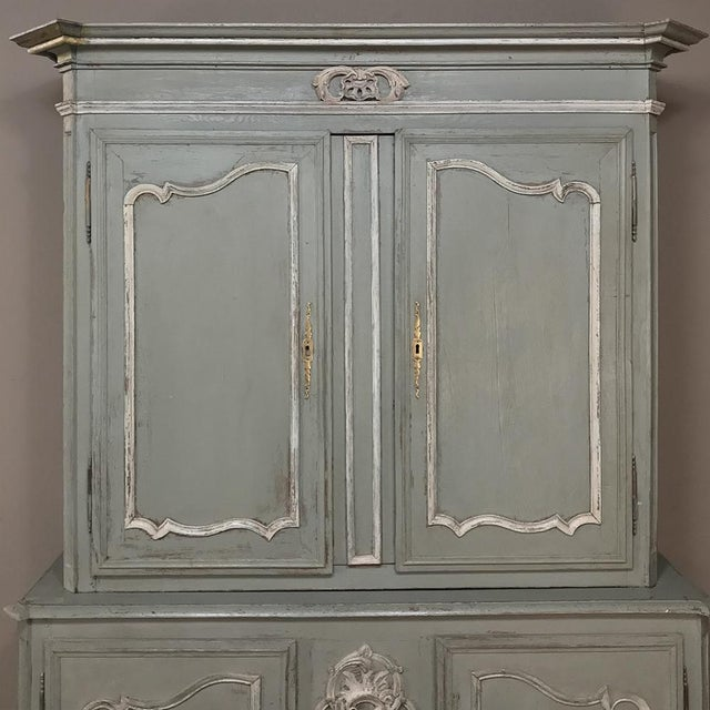 Late 18th Century 18th Century Country French Painted Provincial Buffet a Deux Corps For Sale - Image 5 of 13