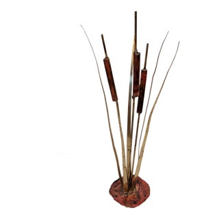 Brutalist Torched Copper and Brass Pussy Willow Sculpture For Sale
