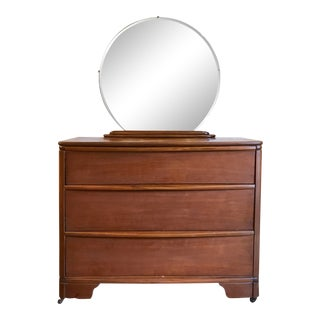 Art Deco Chest W/ Round Mirror For Sale
