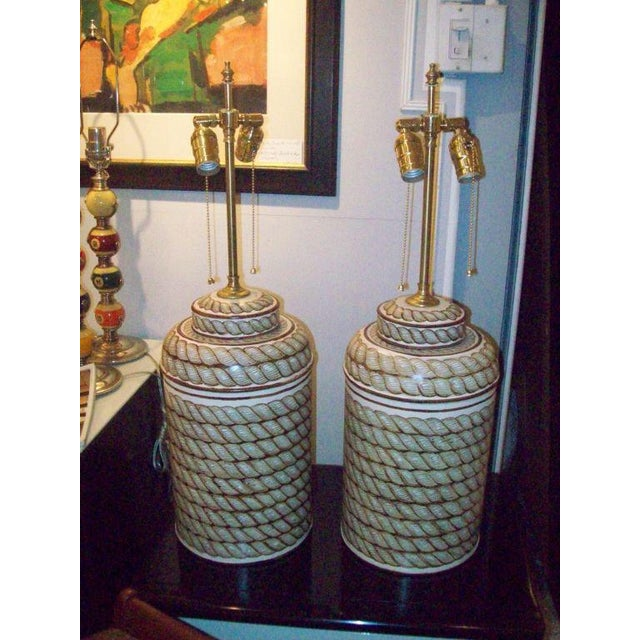 Americana Pair of Hand-Painted Tole Canister Lamps For Sale - Image 3 of 5