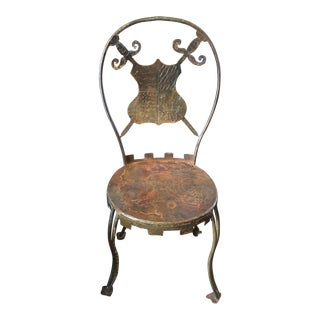 20th Century Medieval Metal Chair With Shield Back For Sale