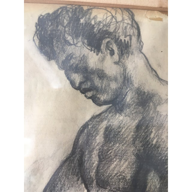 """Tan Vintage Original """"Boxer, Portrait, Card Game"""" Drawings by David Fredenthal - Set of 3 For Sale - Image 8 of 11"""