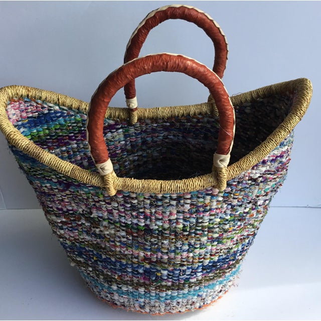 African Large African Bolga Ghana Woven Basket For Sale - Image 3 of 5