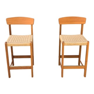 Modern Teak and Paper Cord Counter Height Bar Stools - a Pair For Sale