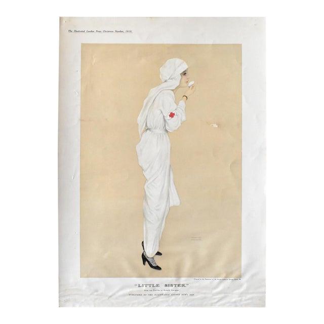 "Vintage Poster Print of ""Little Sister"" Wwi Nurse 1915 by Raphael Kirchner For Sale"