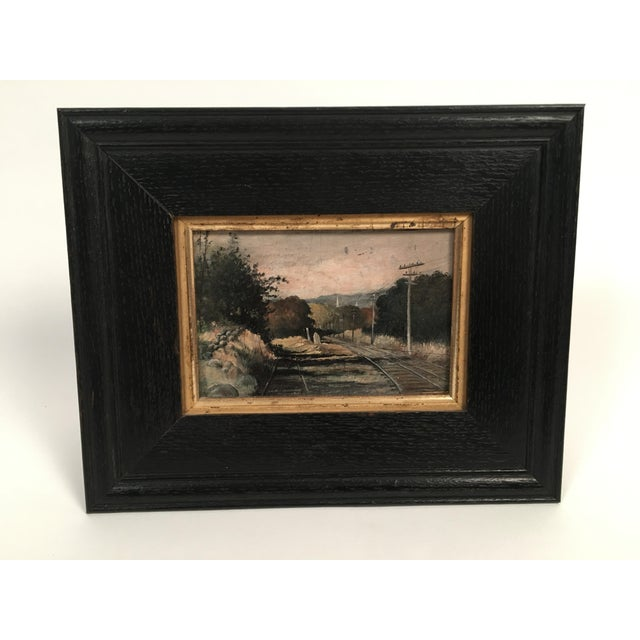 19th Century Small Landscape Painting with Railroad Tracks and Telegraph Poles For Sale - Image 4 of 10