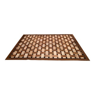 Geometric Patchwork Cowhide Area Rug For Sale