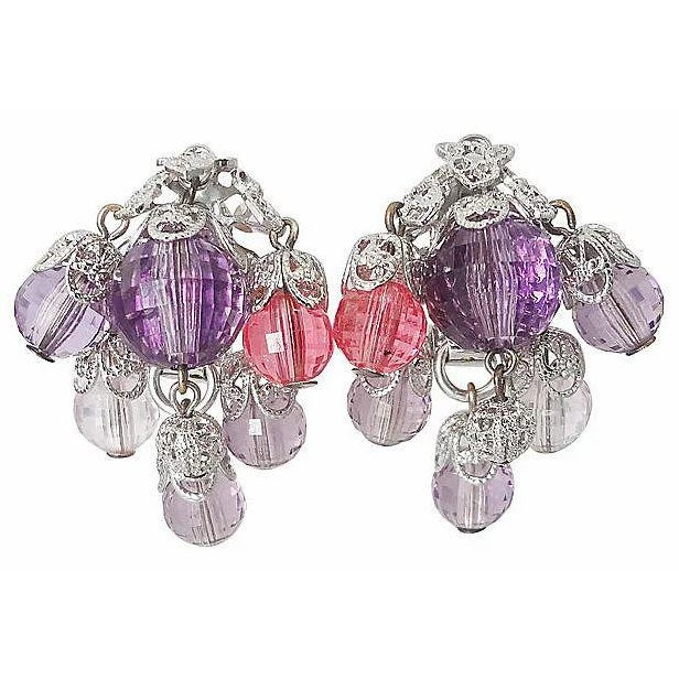 1960s 1960s Napier Filigree Faceted Bead Earrings For Sale - Image 5 of 5