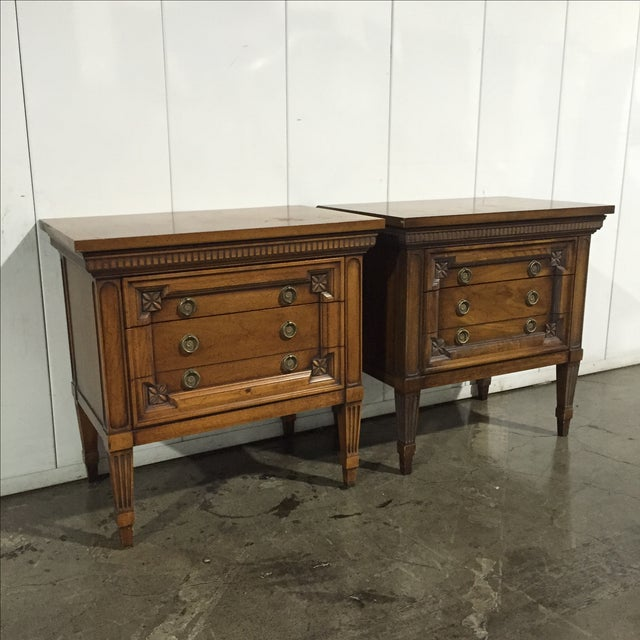 Vintage English Inspired Nightstand - Pair - Image 3 of 6