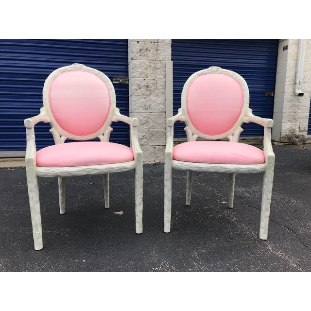 1980s Vintage Faux Bois Dining Arm Chairs - A Pair For Sale - Image 5 of 5