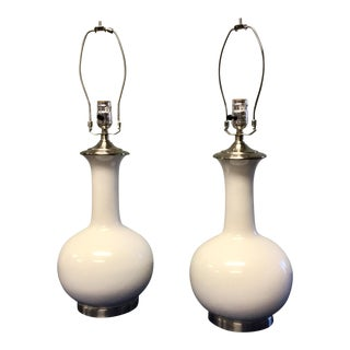 White Mid Century Style Lamps - A Pair