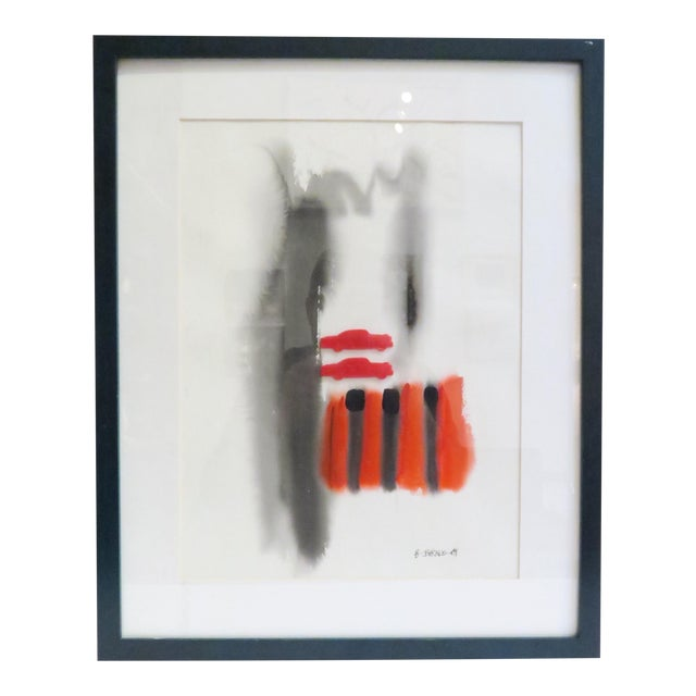 Vintage Framed Abstract Watercolor Painting - Image 1 of 5