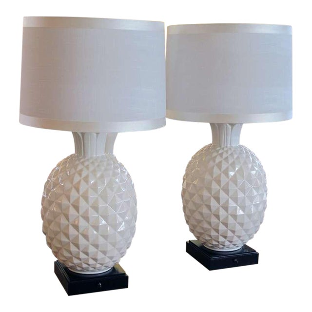 A Robust and Large-Scaled Pair of Italian 1960's White Ceramic Pineapple-Form Lamps For Sale