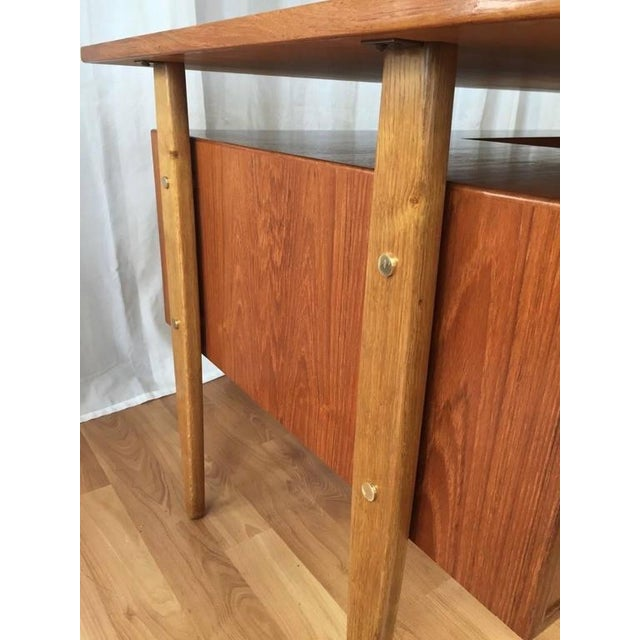 Teak & Oak Floating Top Executive Desk For Sale - Image 9 of 10