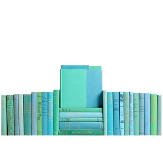 Midcentury Ocean Book Wall : Set of Fifty Decorative Books in Shades of Blue