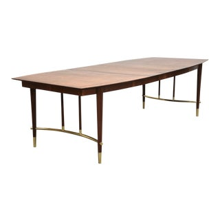 Bert England for Johnson Furniture Walnut and Brass Dining Table For Sale