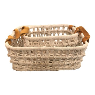 Pigeon and Poodle Ardross Water Hyacinth Somerset and Leather Basket Set - 2 Pieces For Sale