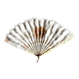 Victorian Ladies Fan, Feathers Bone & Silk, Antique Fashion